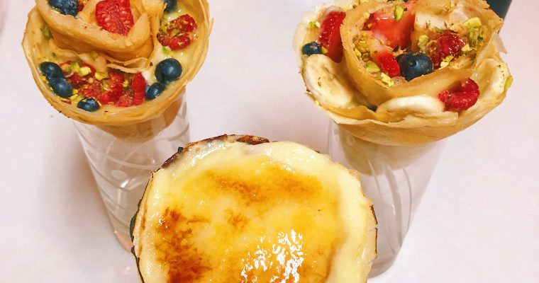 Creme Brulee Fruit-Filled Crepe Cones