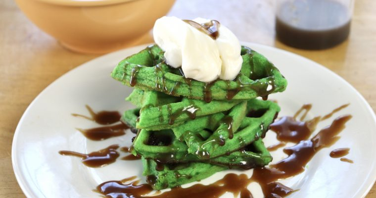 Pandan Waffles with Coconut Caramel